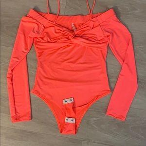 NEW Fashion nova peach bodysuit size S